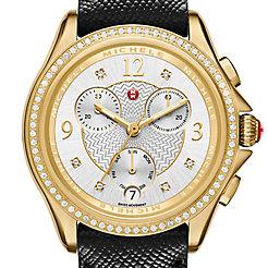 Belmore Chrono Diamond Gold, Diamond Dial Black Leather Watch