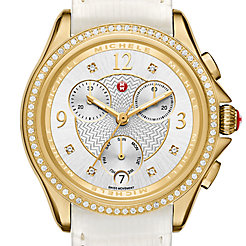 Belmore Chrono Diamond Gold, Diamond Dial White Lizard Watch