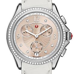 Belmore Chrono Diamond, Beige Diamond Dial White Alligator Watch