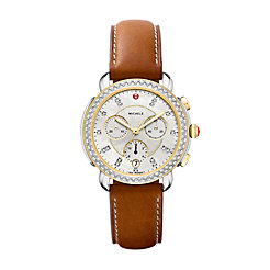 Sidney Diamond Two-Tone, Diamond Dial Brown Leather Strap Watch