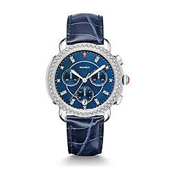 Sidney Diamond, Navy Diamond Dial Blue Alligator Strap Watch
