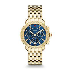 Sidney Diamond Gold, Navy Diamond Dial Watch