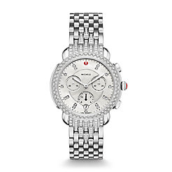 Sidney Stainless Steel Diamond Watch On Diamond Taper Stainless Steel 7-link Bracelet