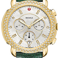 Sidney Diamond Gold, Diamond Dial Green Ostrich Watch