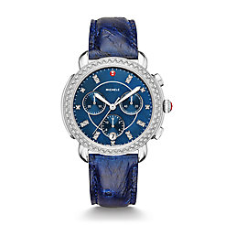 Sidney Diamond, Navy Diamond Dial Blue Ostrich Watch