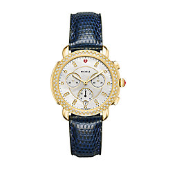 Sidney Gold and Navy Lizard Diamond Watch