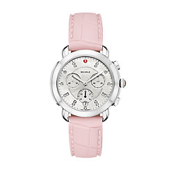 Sidney Stainless-Steel Diamond Dial and Blush Silicone Watch