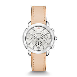 Sidney Stainless-Steel Diamond Dial and Tan Calfskin Watch