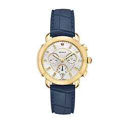 Sidney Gold and Navy Silicone Diamond Dial Watch