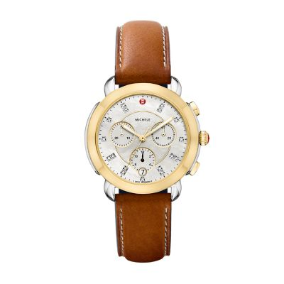 9dd50d01ee175 MICHELE® Watches - Sidney Two-Tone and Saddle Leather Diamond Dial Watch