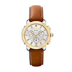 Sidney Two-Tone and Saddle Leather Diamond Dial Watch