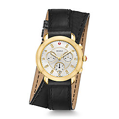 Sidney Gold and Black Leather Double Wrap Diamond Dial Watch