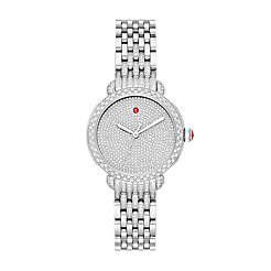 Sidney Classic Stainless Pavé Diamond Watch on 7-Link Taper Stainless Steel Bracelet with Diamonds