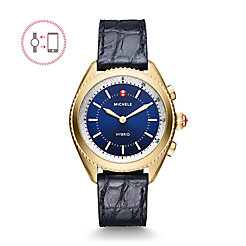Gold-Plated Navy Dial Navy Alligator And Silicone Hybrid Smartwatch