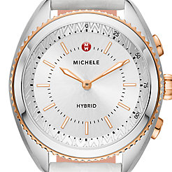 Two-Tone Rose Gold-Plated Silver and White Dial White Alligator And Blush Silicone Hybrid Smartwatch