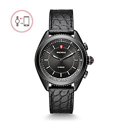 Black IP Black Dial Black Alligator And Silicone Hybrid Smartwatch