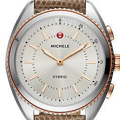 Two-Tone Rose Gold-Plated Cashmere Dial and Cashmere Lizard Hybrid Smartwatch