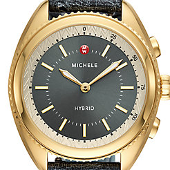 Gold-Plated Shadow Grey Dial and Shadow Grey Ostrich Hybrid Smartwatch