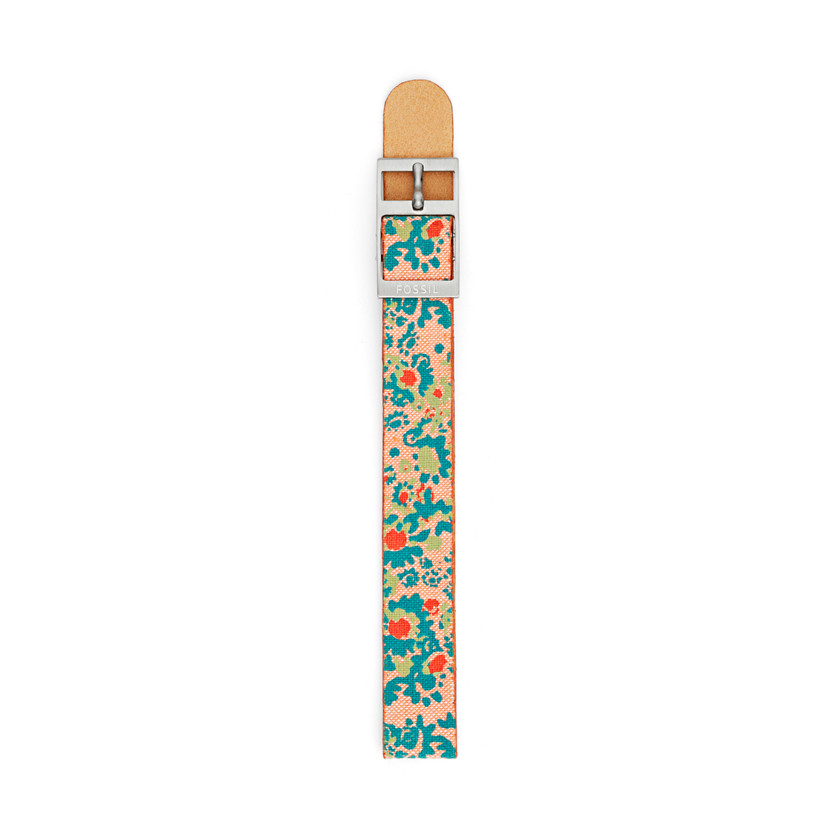 Fossil  Reversible Canvas and Leather 14mm Watch Strap - Floral