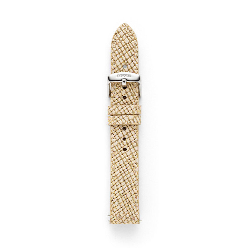 Fossil  Leather 18mm Watch Strap - Gold  22473888