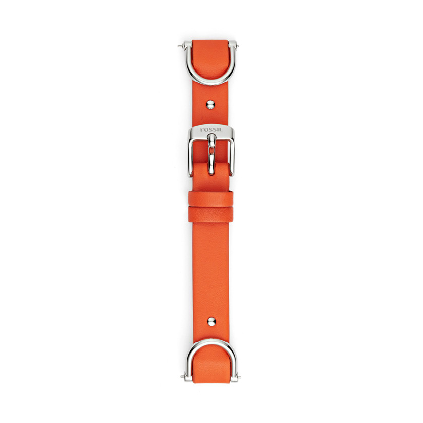 Fossil  Leather and Stainless Steel 18mm Watch Strap - Red  22607010