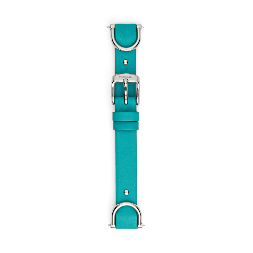 Fossil  Leather and Stainless Steel 18mm Watch Strap - Dragonfly Blue