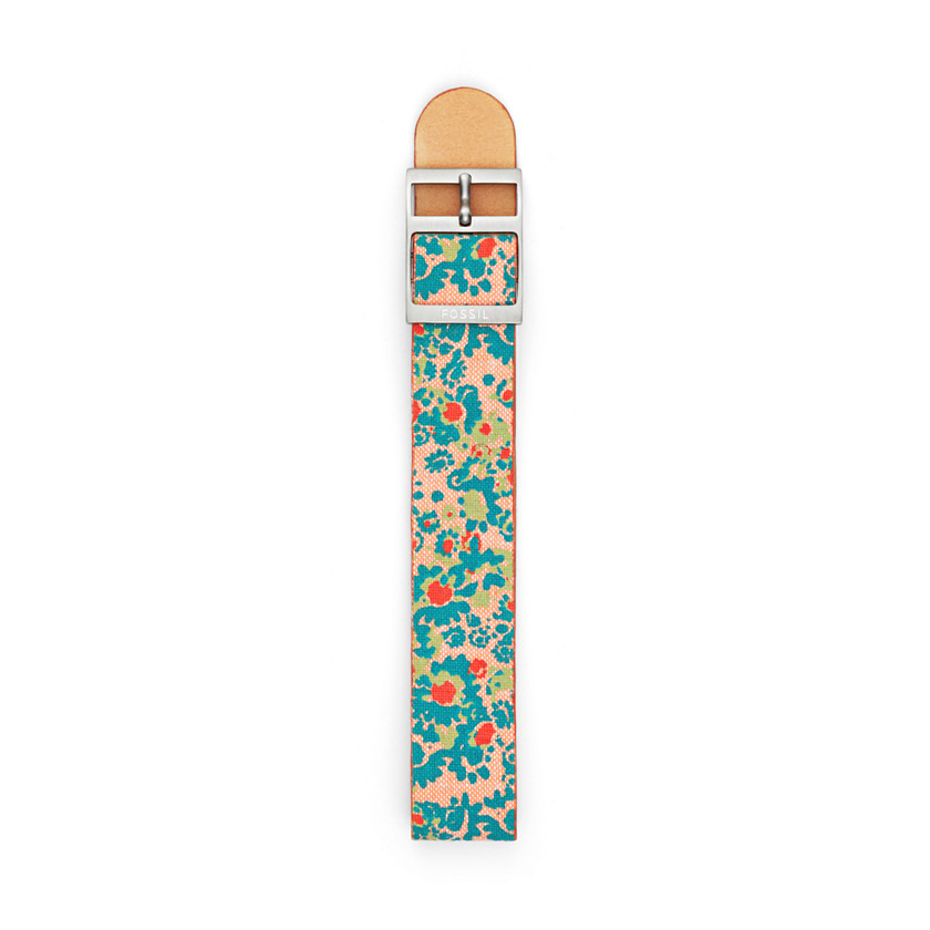 Fossil  Reversible Canvas and Leather 18mm Watch Strap - Floral