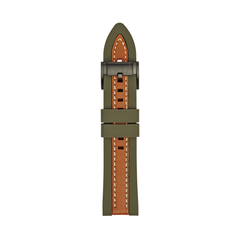 Fossil  Silicone and Leather 22mm Watch Strap - Olive and Brown